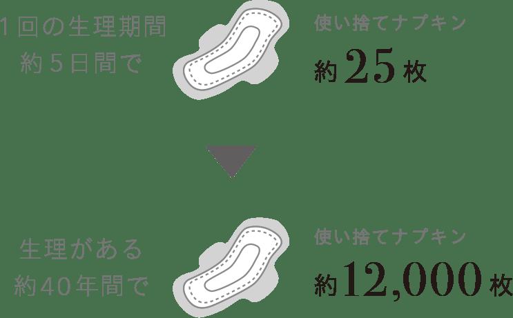 1回の生理期間約5日間で使い捨てナプキン約25枚、生理がある約40年間で使い捨てナプキン約12,000枚