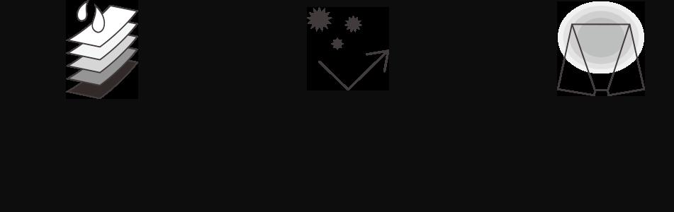 5層の吸収体が約150mlの液体を吸収。繊維上の雑菌の繁殖をおさえ、ニオイを防ぐ抗菌・防臭機能。お腹は2枚重ねの温もり設計。